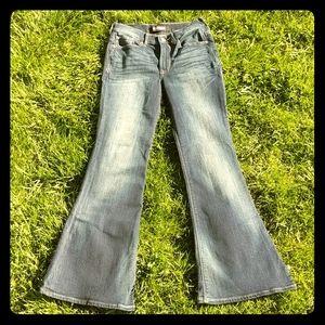 Express blue denim jeans wide bootcut stretch zero